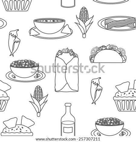 Seamless black-white background with mexican food for your design - stock vector