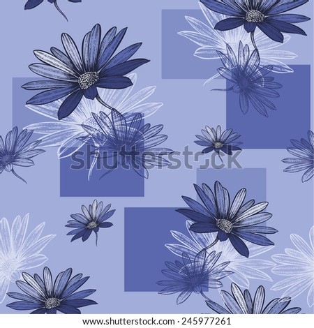 Seamless blue background with Camomile, hand-drawing. Vector illustration. - stock vector