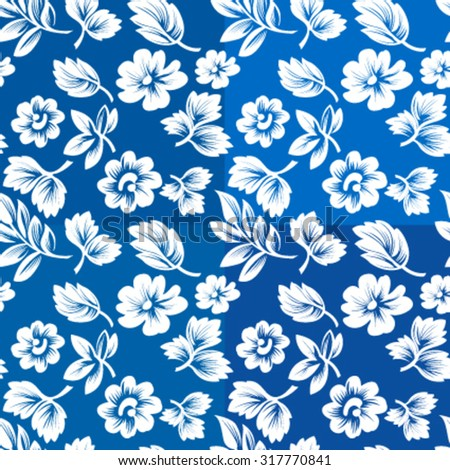 seamless blue floral pattern, scalable vector illustration