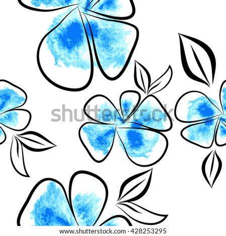 Seamless blue flowers background from blots. Vector - stock vector