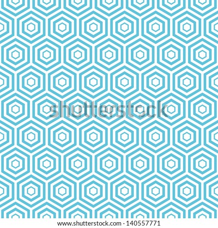 seamless blue Hexagon  pattern background  - stock vector