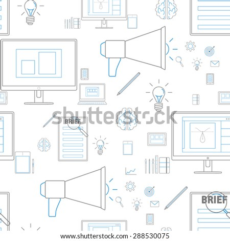 Seamless blue pattern background with icons in lines style for design and computer work - stock vector