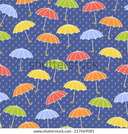 Seamless blue pattern with colorful umbrellas and rain. Vector illustration - stock vector