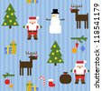 Seamless blue pattern with cute Santa Claus, snowman, reindeer, Christmas tree and presents. Vector illustration - stock vector