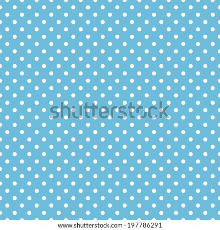 Seamless blue polka dot background pattern - stock vector