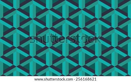 Seamless blue retro op art hex construction optical illusion vector pattern - stock vector
