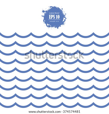 Seamless blue sea wave pattern - stock vector