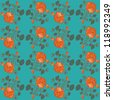 Seamless blue wallpaper pattern with roses - stock vector