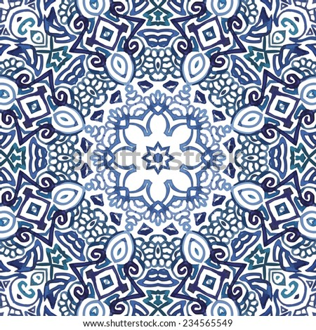 Seamless blue watercolor doodle fantasy decorative pattern - stock vector