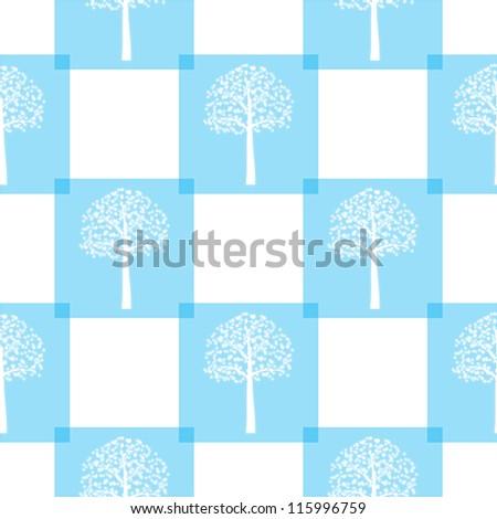 Seamless blue winter tree pattern. - stock vector