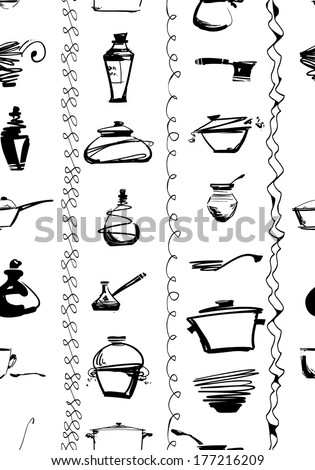 Seamless (boarderless) ornament with kitchen utencils - stock vector