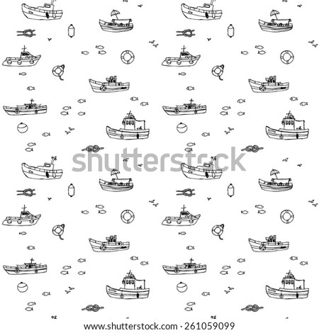 Seamless boat pattern in black and white, in vector - stock vector