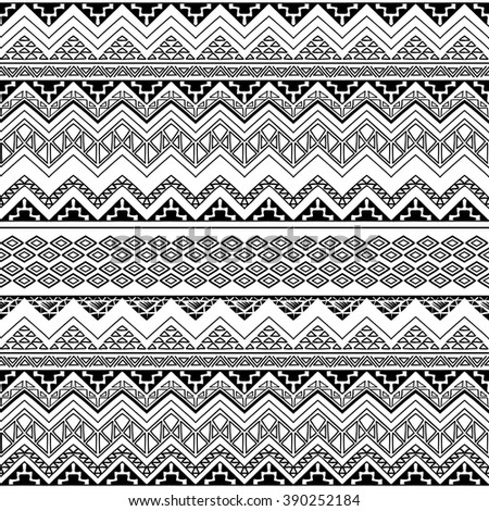 Seamless Boho Chic Style Pattern With Tribal Aztec Ornament Modern Folk Wallpaper Hand Drawn