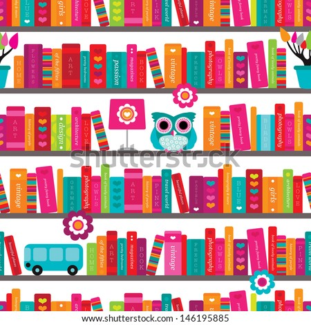 Seamless book shelve and interior illustration background pattern in vector - stock vector