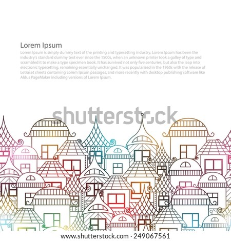 Seamless border. House in abstract style. The design margin of the page - stock vector
