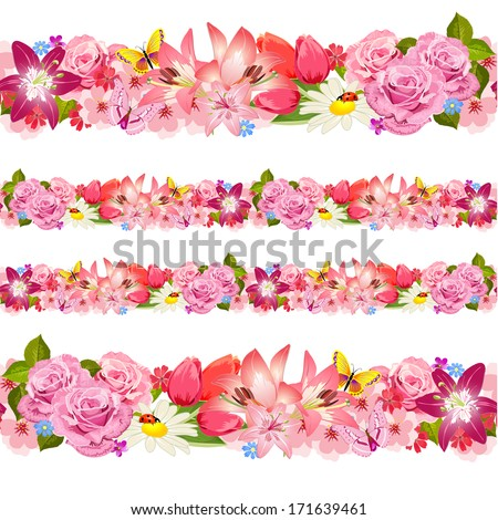 Seamless border of beauty flowers. Set - stock vector
