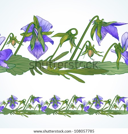 Seamless border of pansies - stock vector