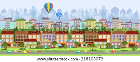 seamless border with a cityscape. panorama - stock vector