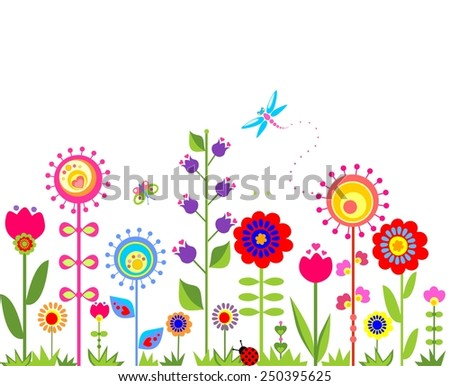 Seamless border with abstract  spring flowers - stock vector