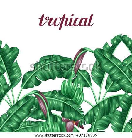 Seamless border with banana leaves. Decorative image of tropical foliage, flowers and fruits. Background made without clipping mask. Easy to use for backdrop, textile, wrapping paper. - stock vector