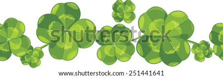 Seamless border with clover leaves. Vector - stock vector