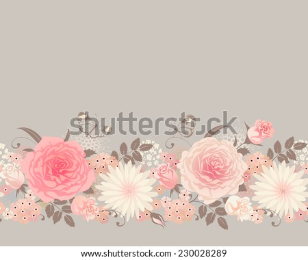 Seamless border with roses and butterflies. Vector flora background. - stock vector