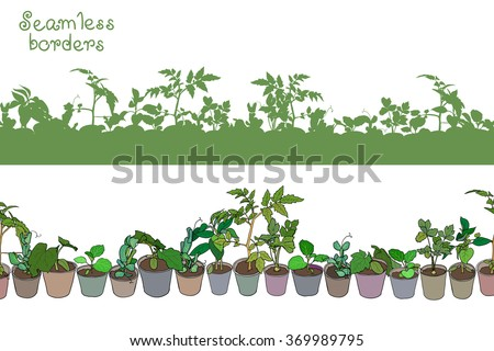 Seamless border with various seedlings and potted plants. Green seamless silhouettes of various seedlings and garden plants. Vector design. - stock vector