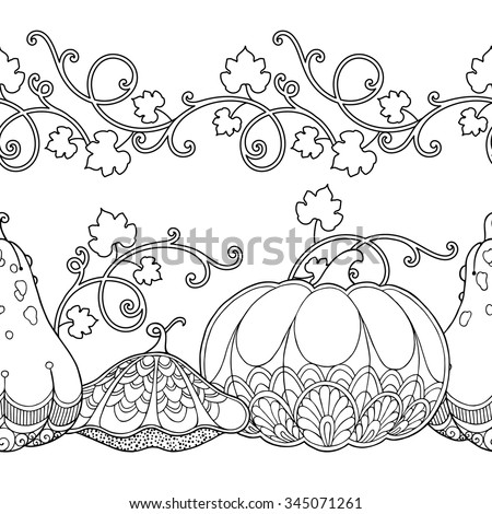 Seamless borders vector set in doodle style. Floral, ornate, decorative, tribal, garden design elements. Black and white background. Pumpkins and leaves. Zentangle coloring book page - stock vector