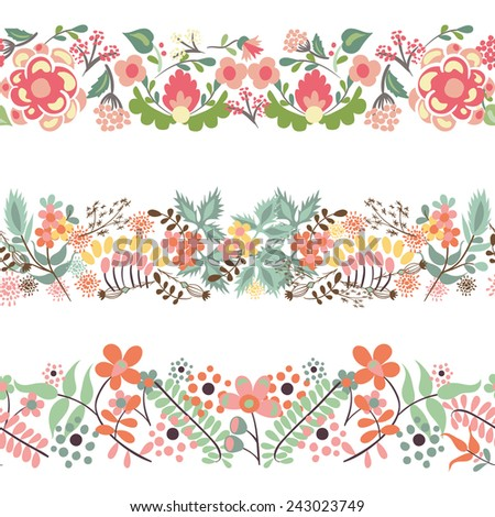 Seamless borders with hand drawn floral elements - stock vector