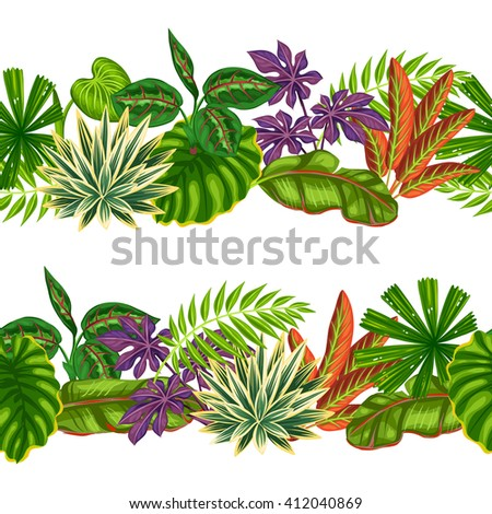 Seamless borders with tropical plants and leaves. Background made without clipping mask. Easy to use for backdrop, textile, wrapping paper. - stock vector