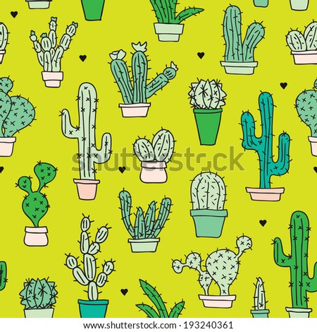 Seamless botanical garden cactus in flower pots illustration background pattern in vector - stock vector