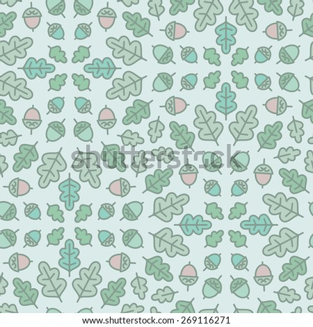 Seamless botanical pattern with oak leaves and acorn. Vector illustration. Endless texture with natural elements. - stock vector