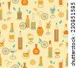 Seamless bottles pattern in retro style - stock vector