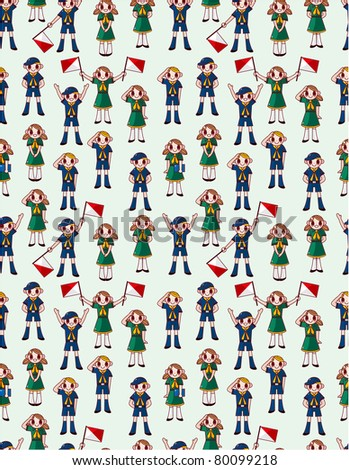 seamless boy/girl scout pattern - stock vector