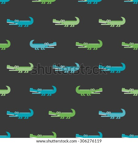 Seamless boys crocodile jungle alligator animals illustration background pattern in vector - stock vector