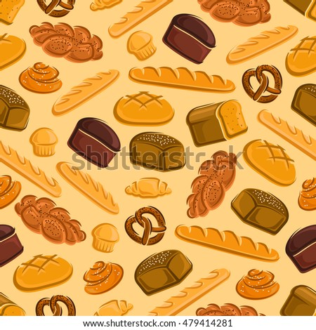 Seamless bread and pastries pattern with multigrain and rye bread, round farm bread, baguette, pancake, croissant, cinnamon roll, braided bun and pretzel on yellow background