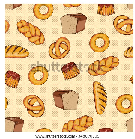 Seamless bread background. Hand drawn vector illustration in sketch style.