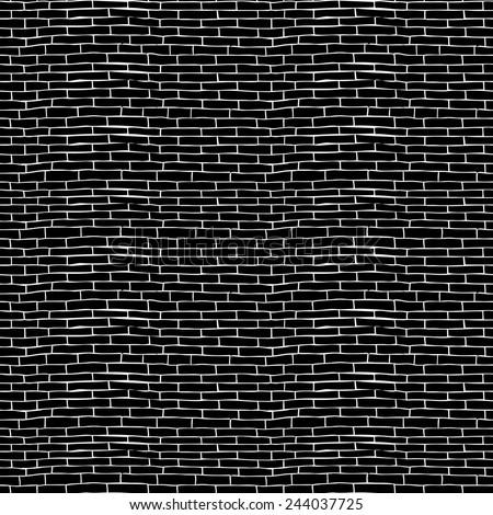 seamless brick pattern, hand drawn vector illustration - stock vector