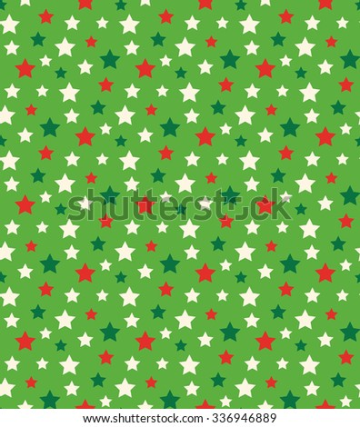 Seamless Bright Abstract Pattern with Stars in Christmas Colors Isolated on Green Background - stock vector