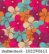 Seamless bright floral pattern. Vector illustration - stock photo
