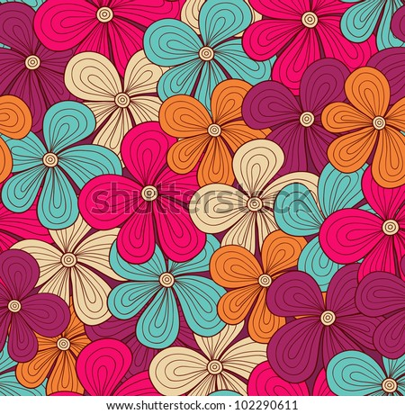 Seamless bright floral pattern. Vector illustration - stock vector