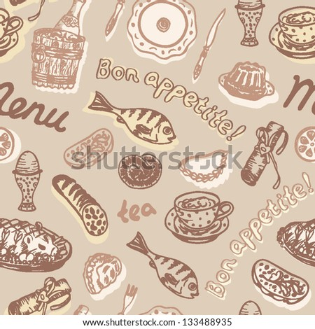 Seamless bright food pattern on the light background in vector