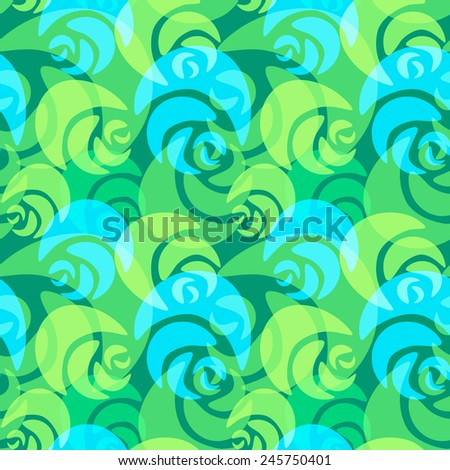 Seamless bright green and blue roses pattern - stock vector