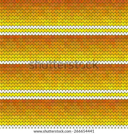 Seamless bright knitted retro texture with orange horizontal stripes - stock vector