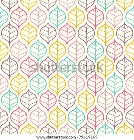 Seamless bright leaf pattern. Vector illustration - stock vector