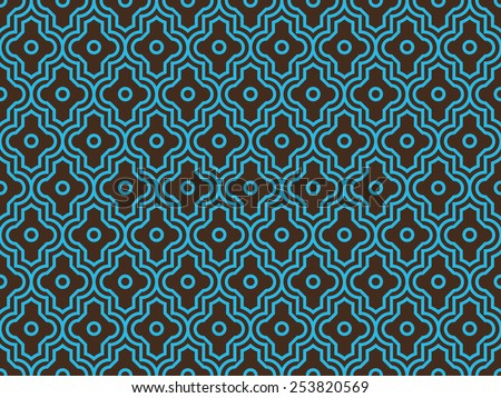 Seamless brown and blue enhanced moroccan pattern vector - stock vector