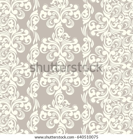 Seamless brown background with light pattern in baroque style. Vector retro illustration. Ideal for printing on fabric or paper.