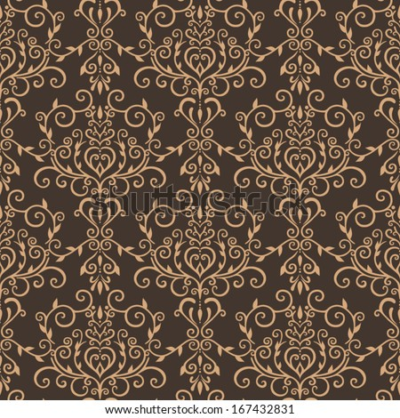 Seamless brown damask pattern  - stock vector