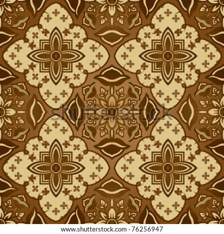 Seamless Brown Javanese Batik background - stock vector