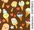 Seamless brown pattern with cute ice creams, flowers and hearts. Vector illustration - stock photo